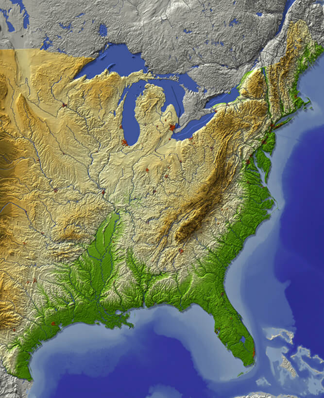 Relief map of the Great Lakes, United States