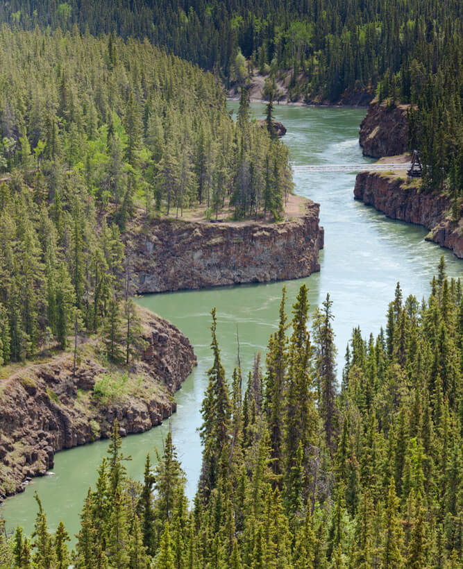 Miles Canyon Yukon River in the Yukon Territory Canada.