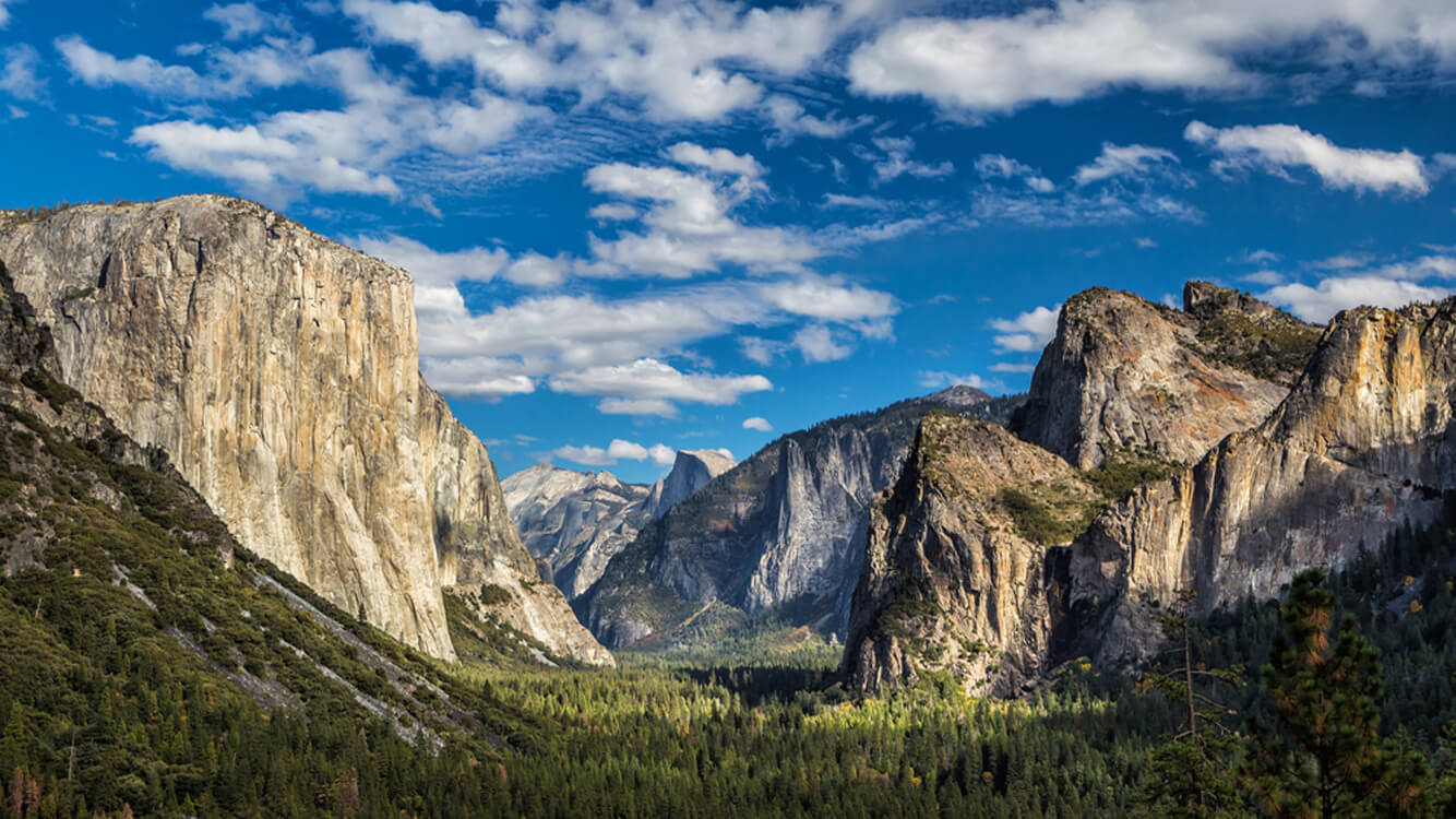 Panoramic view of Yosemite National Park Valley.